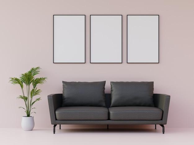 Moldura para retrato da árvore na parede com sofá e mobília na luz rosa moderna sala de estar. 3d rendem.