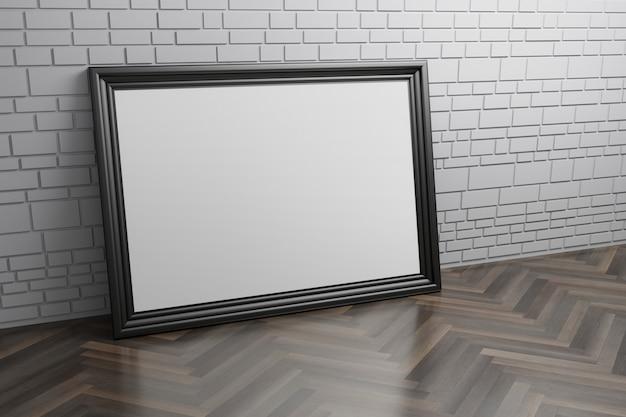 Moldura para retrato em branco vazia preta grande dentro de casa