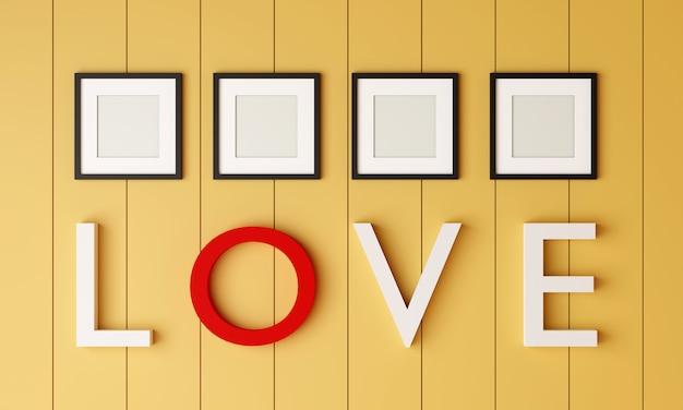 Moldura para retrato quatro em branco preta na parede amarela da sala com palavra de amor na parede.