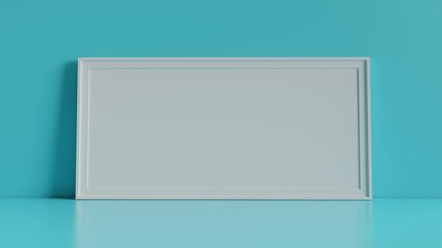 Moldura para retrato vazia com fundo da tabela e da parede. renderização em 3d.