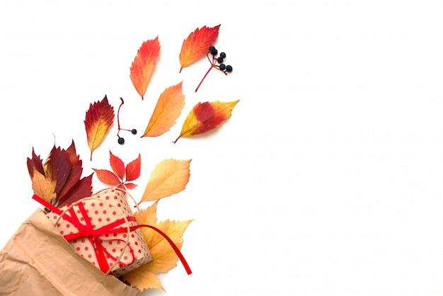 Moldura plana leiga com folhas de outono coloridas e caixa de presente em fundo branco