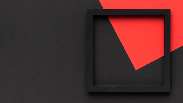 Moldura preta com vista superior do copy-space