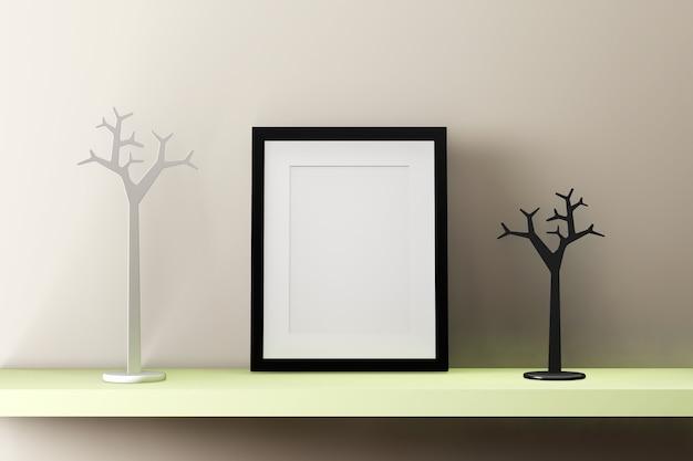 Moldura preta em branco na parede com decoração. 3d rendem.