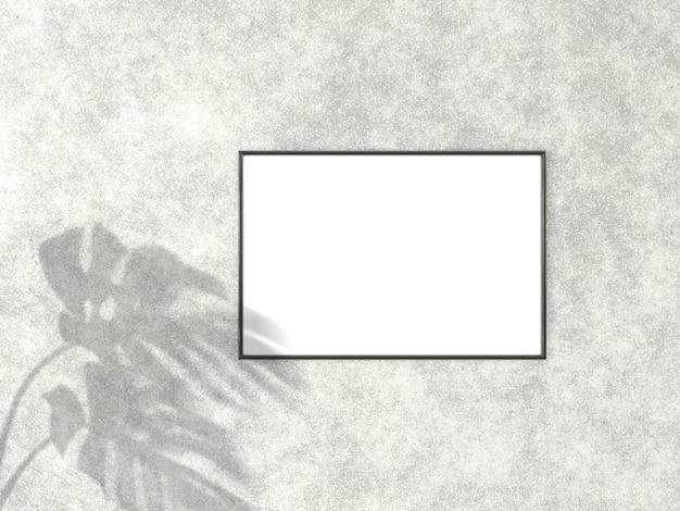 Moldura preta para foto com sombra de monstera folhas