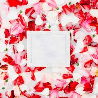 Moldura quadrada branca cercada por pétalas de flores