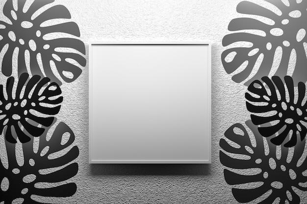 Moldura quadrada com espaço em branco vazio pendurado na parede texturizada com folhas tropicais de monstera em cores preto e brancas. ilustração 3d.