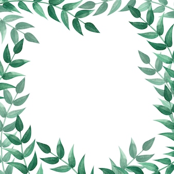Moldura quadrada com folhas verdes. ilustração em aquarela.