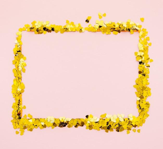 Moldura quadrada de confete dourado