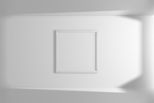 Moldura quadrada de cor branca pendurada na parede. interior simples. quarto luminoso. renderização em 3d.