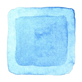 Moldura quadrada em aquarela azul. fundo abstrato. elemento para o seu design