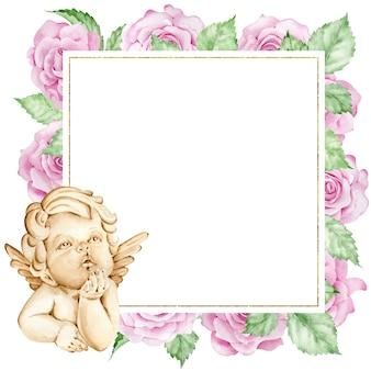 Moldura quadrada em aquarela com um anjinho e rosas cor de rosa