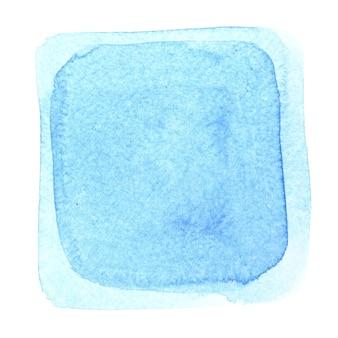 Moldura quadrada em aquarela de luz azul. fundo abstrato
