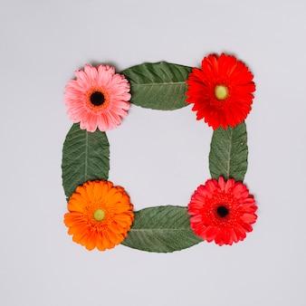 Moldura quadrada feita de botões de flores e folhas