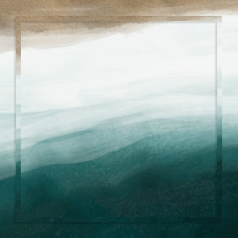 Moldura quadrada no fundo do mar