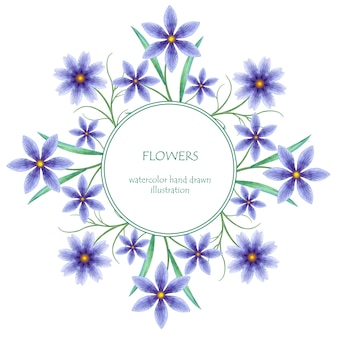 Moldura redonda com aquarela flores desabrochando
