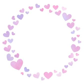 Moldura redonda de coração com lindos corações