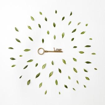 Moldura redonda de pétalas e uma chave de coração em um fundo branco, flat lay