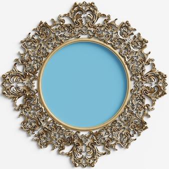 Moldura redonda dourada clássica com decoração de ornamento e círculo azul no centro na parede branca