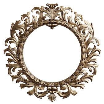 Moldura redonda dourada clássica com decoração de ornamento isolada