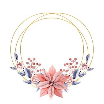 Moldura redonda dourada com flores em aquarela de bagas da neve e flores de poinsétia