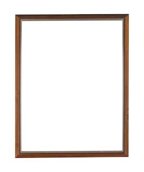 Moldura retangular de madeira para pintura ou quadro isolado em uma parede branca