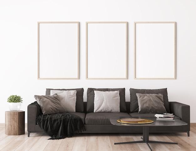 Moldura simulada em design escandinavo de sala de estar, decoração para casa com sofá escuro
