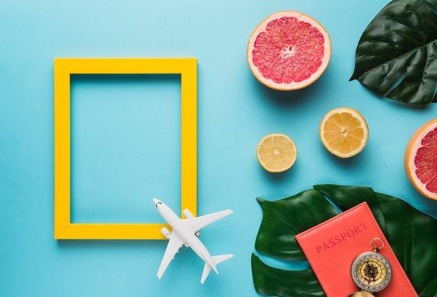 Moldura vazia com avião, folhas e frutas