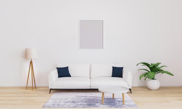 Moldura vazia na luminosa sala de estar com sofá branco com almofadas azuis escuras