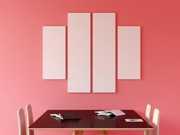 Moldura vazia na parede com sofá e móveis na moderna sala de estar rosa. 3d rendem.