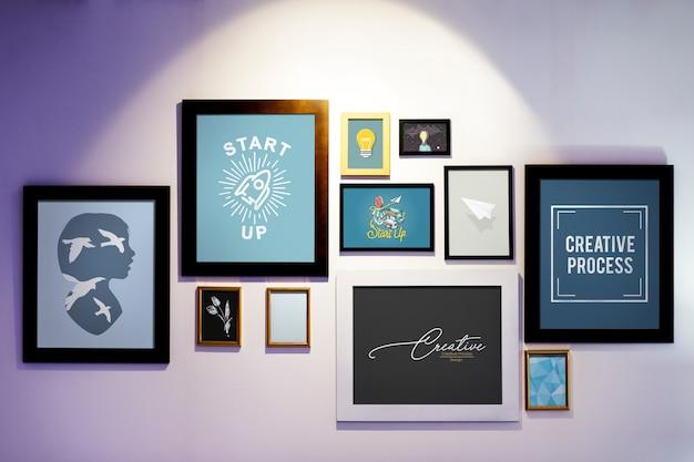 Molduras com ilustrações criativas em uma parede