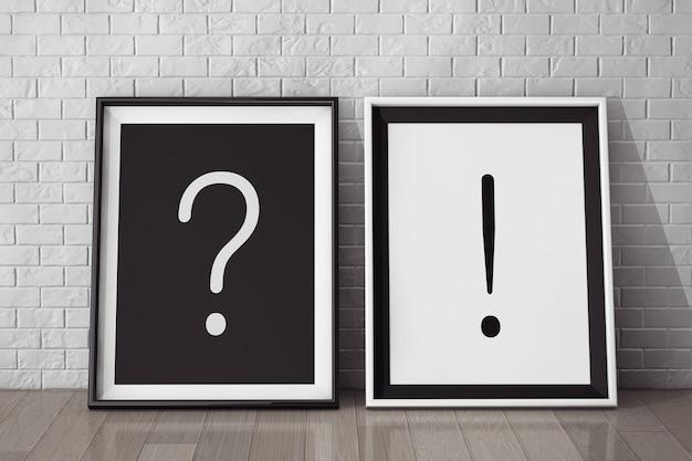 Molduras com perguntas e pontos de exclamação close-up extremo