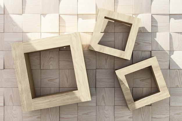 Molduras de madeira com luz solar no piso de madeira
