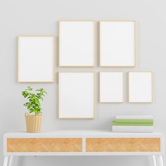 Molduras de madeira simulam coleção em uma sala mínima com plantas, livros e console de renderização em 3d