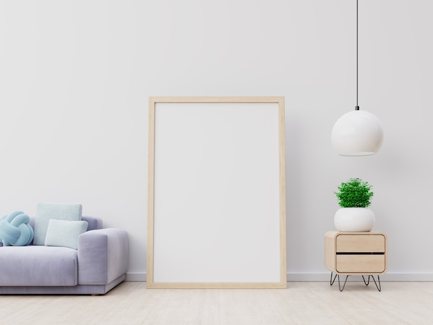 Molduras de madeira vazias verticais interior poster mockup com sofá e lâmpada