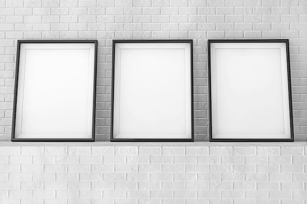 Molduras em branco na parede de tijolo closeup extrema. renderização 3d