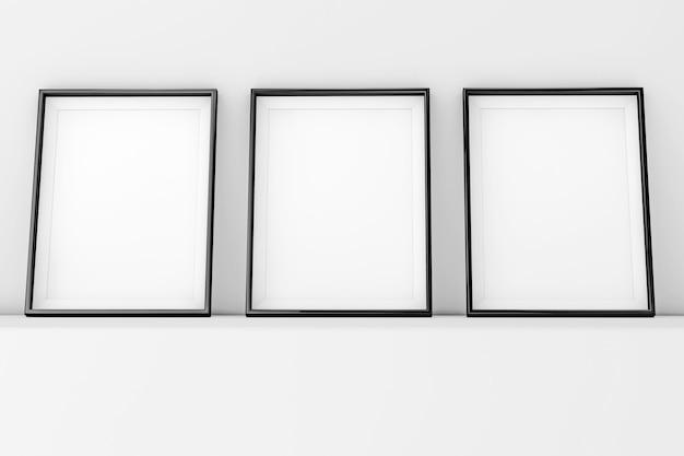 Molduras em branco sobre um fundo branco. renderização 3d