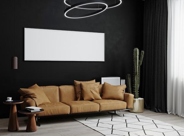 Molduras horizontais em branco simuladas em fundo interior de luxuosa sala de estar escura com sofá de couro