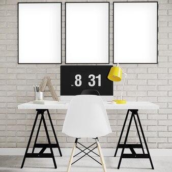 Molduras na parede de tijolos com mesa e cadeira