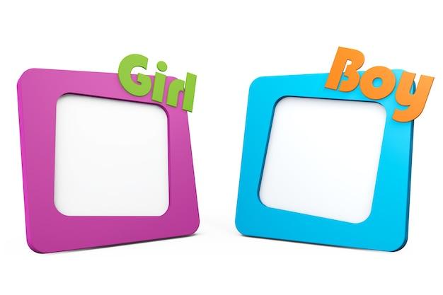 Molduras para fotos com sinais de menina e menino em um fundo branco
