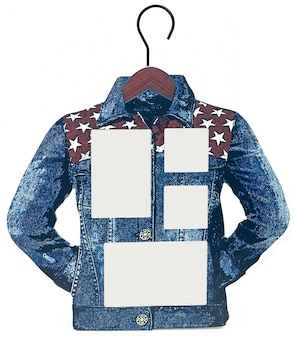 Molduras para fotos como camisa jeans em um cabide