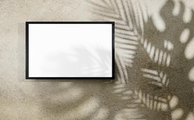 Molduras para fotos em branco com sombra de monstera e folhas de palmeira