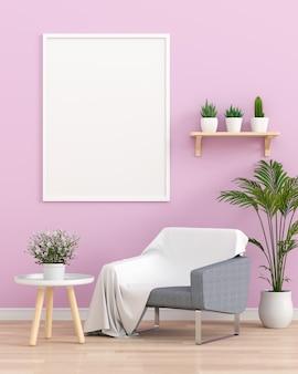 Molduras para fotos em branco na sala de estar