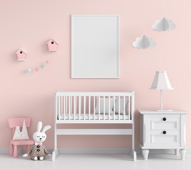 Molduras para fotos em branco no quarto de criança