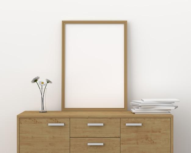 Molduras para fotos em branco para maquete na moderna sala de estar, 3d render, ilustração 3d