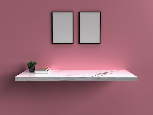 Molduras para fotos em branco pendurado na parede com o quarto vazio interior. renderização 3d.