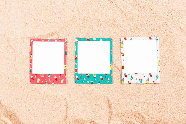 Molduras para fotos instantâneas de verão para maquete