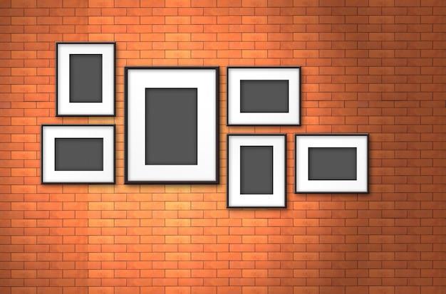 Molduras para fotos na parede de tijolos antigos