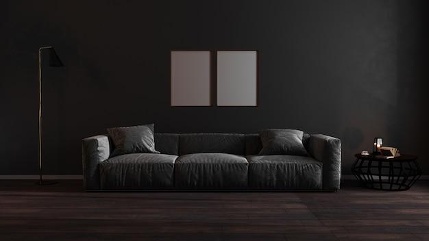 Molduras verticais douradas mock-se na sala de estar de luxo escuro
