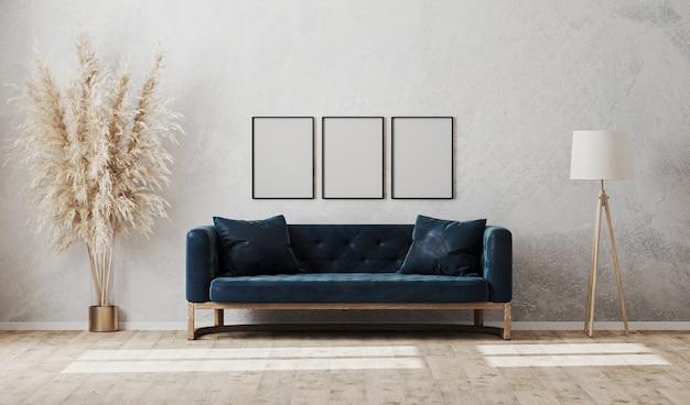 Molduras verticais em branco na parede de gesso decorativo cinza no interior da sala de estar moderna com sofá azul escuro, luminária de pé, renderização em 3d