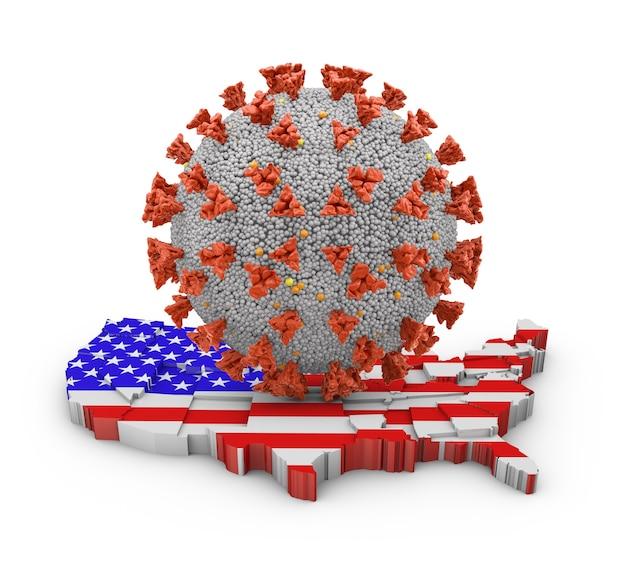 Molécula de coronavírus em um mapa volumétrico dos estados unidos. renderização 3d.